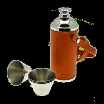 Ettinger Taschenflasche HUNTER mit 4 Bechern Hellbraun