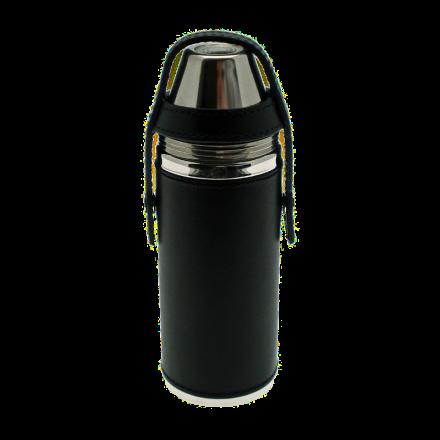 Ettinger Taschenflasche HUNTER mit 4 Bechern Schwarz
